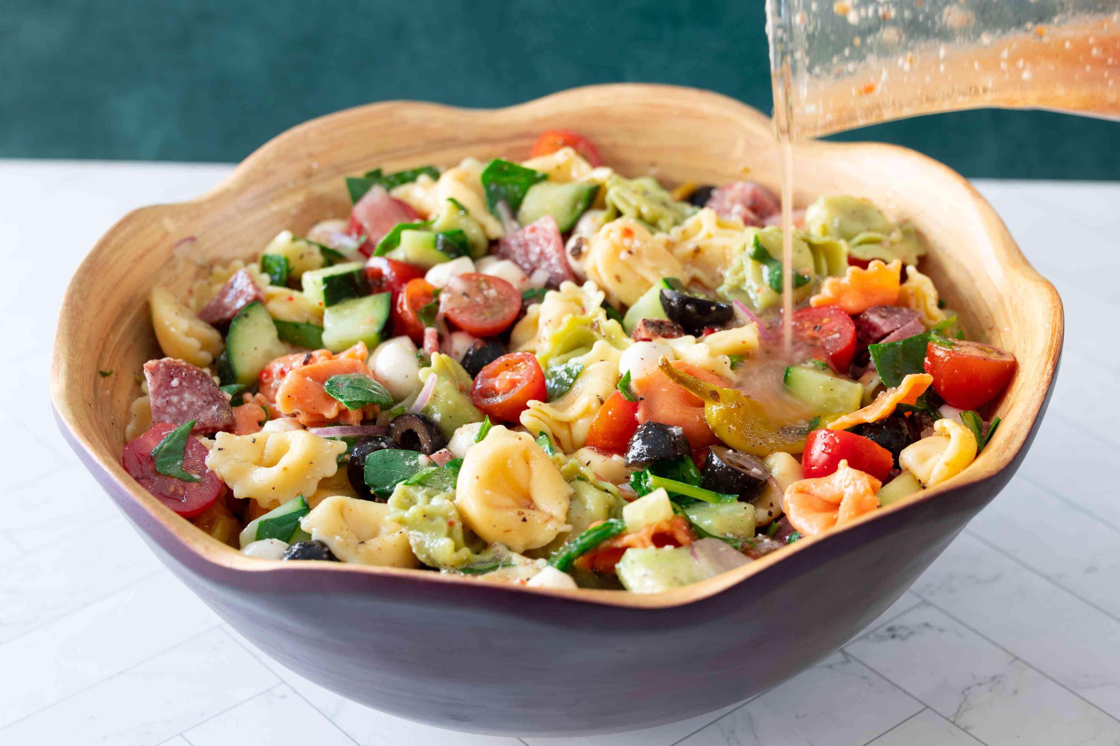 tortellini pasta salad and semi homemade dressing