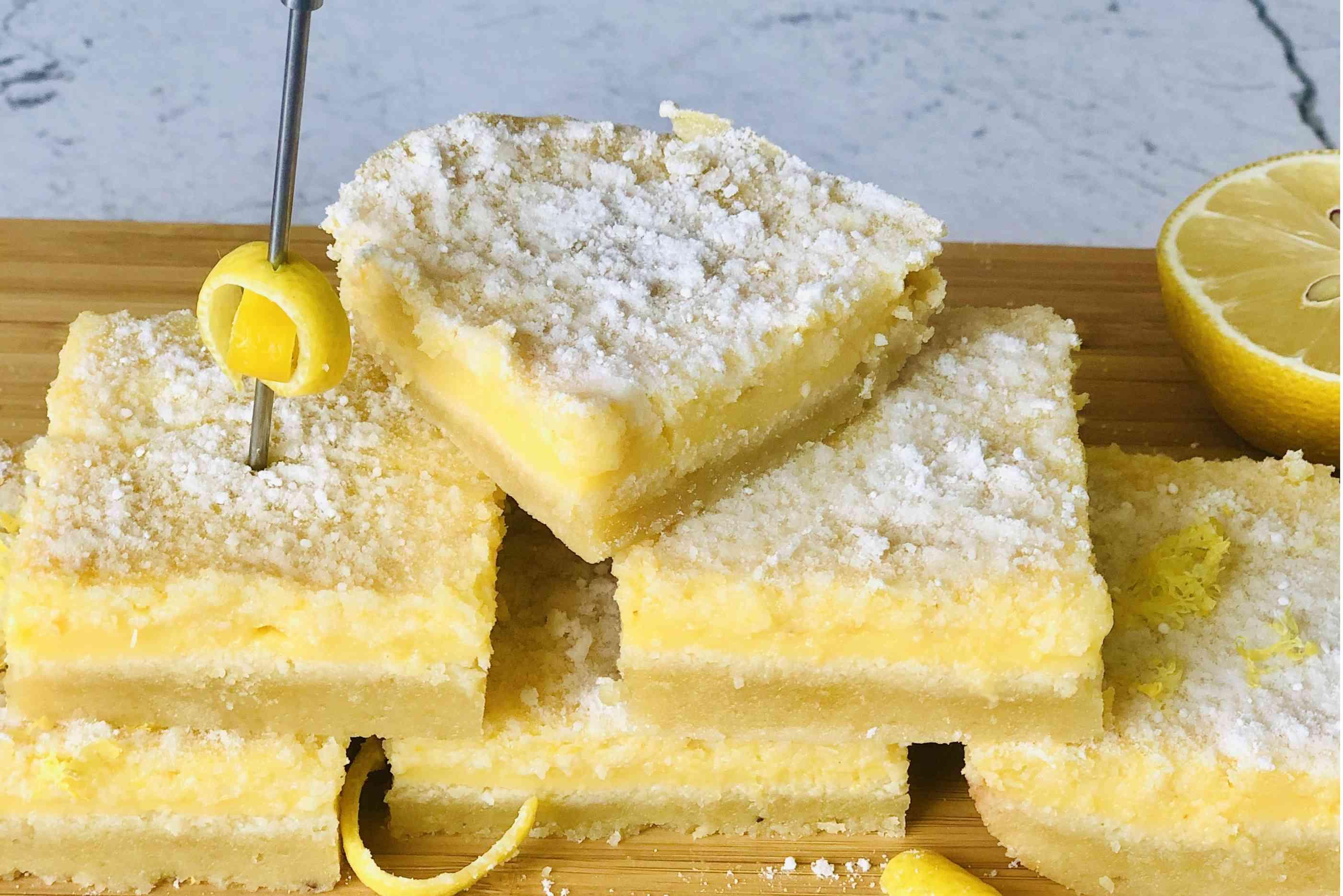 Sliced Keto Lemon Bars
