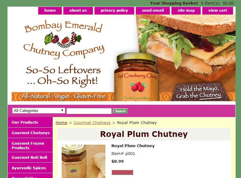 Bombay Emerald Chutney Company website