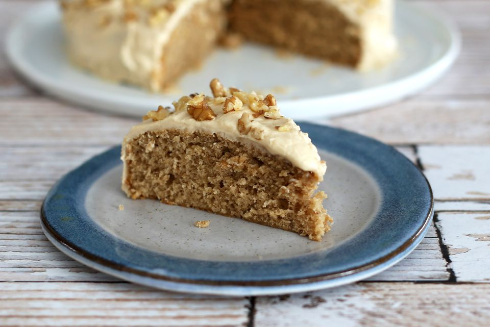 slice of Coffee Walnut Snack Cake on plate