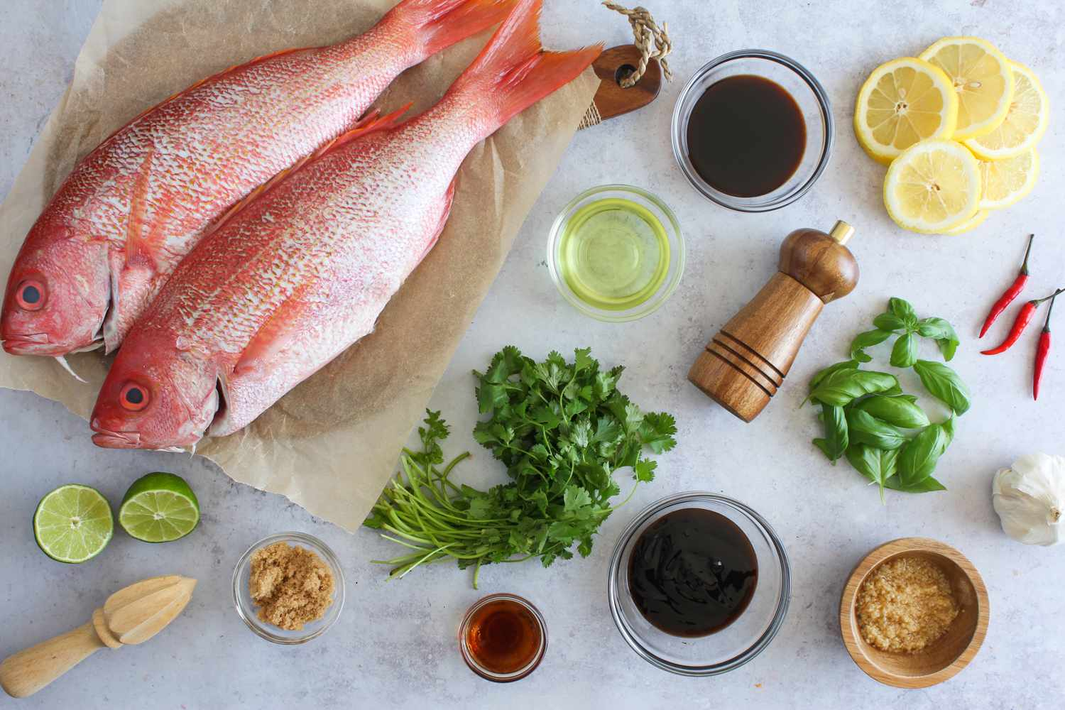 Ingredients for baked whole fish in garlic-chili sauce