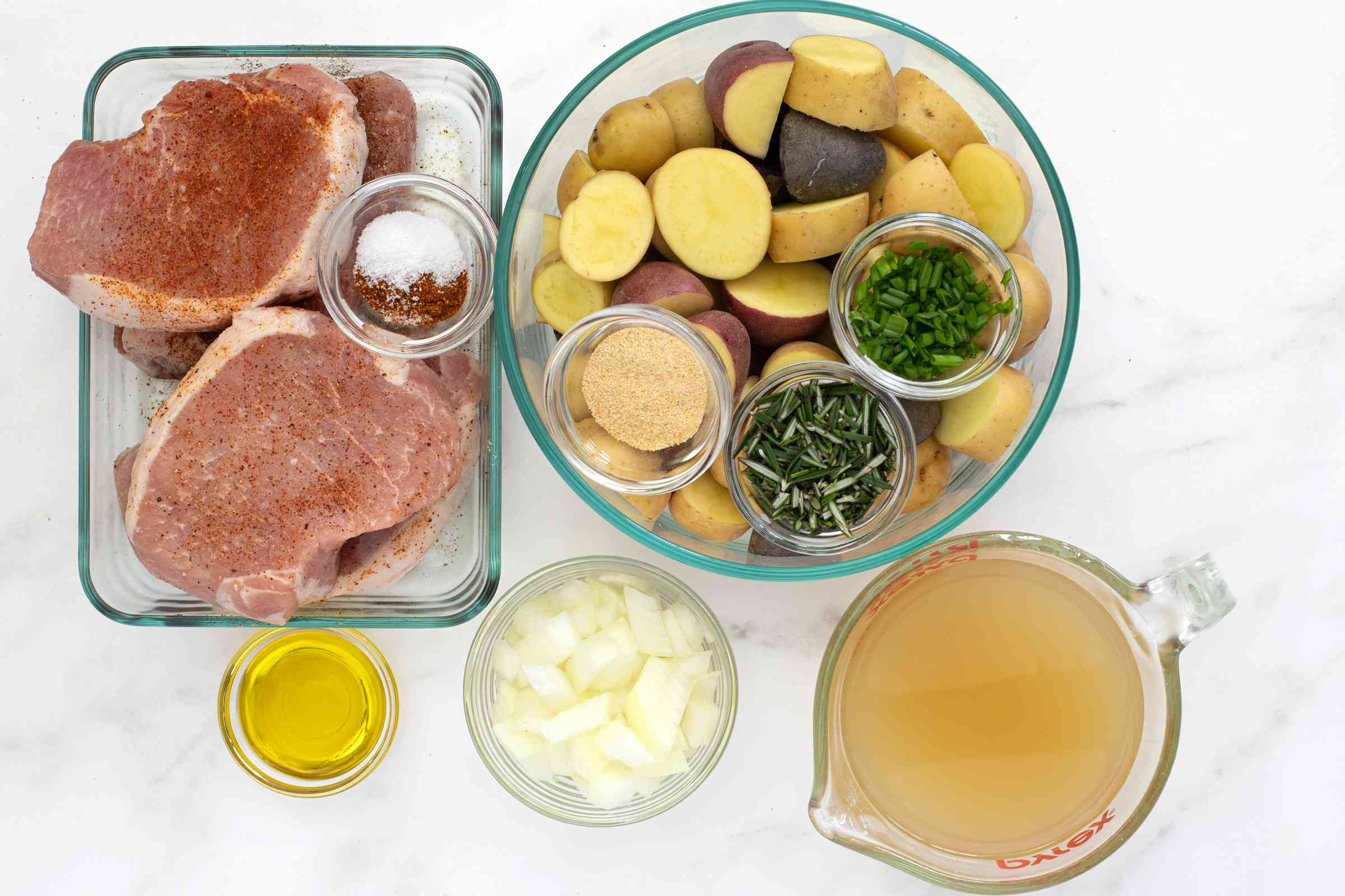 Ingredients for Instant Pot pork chops and potatoes