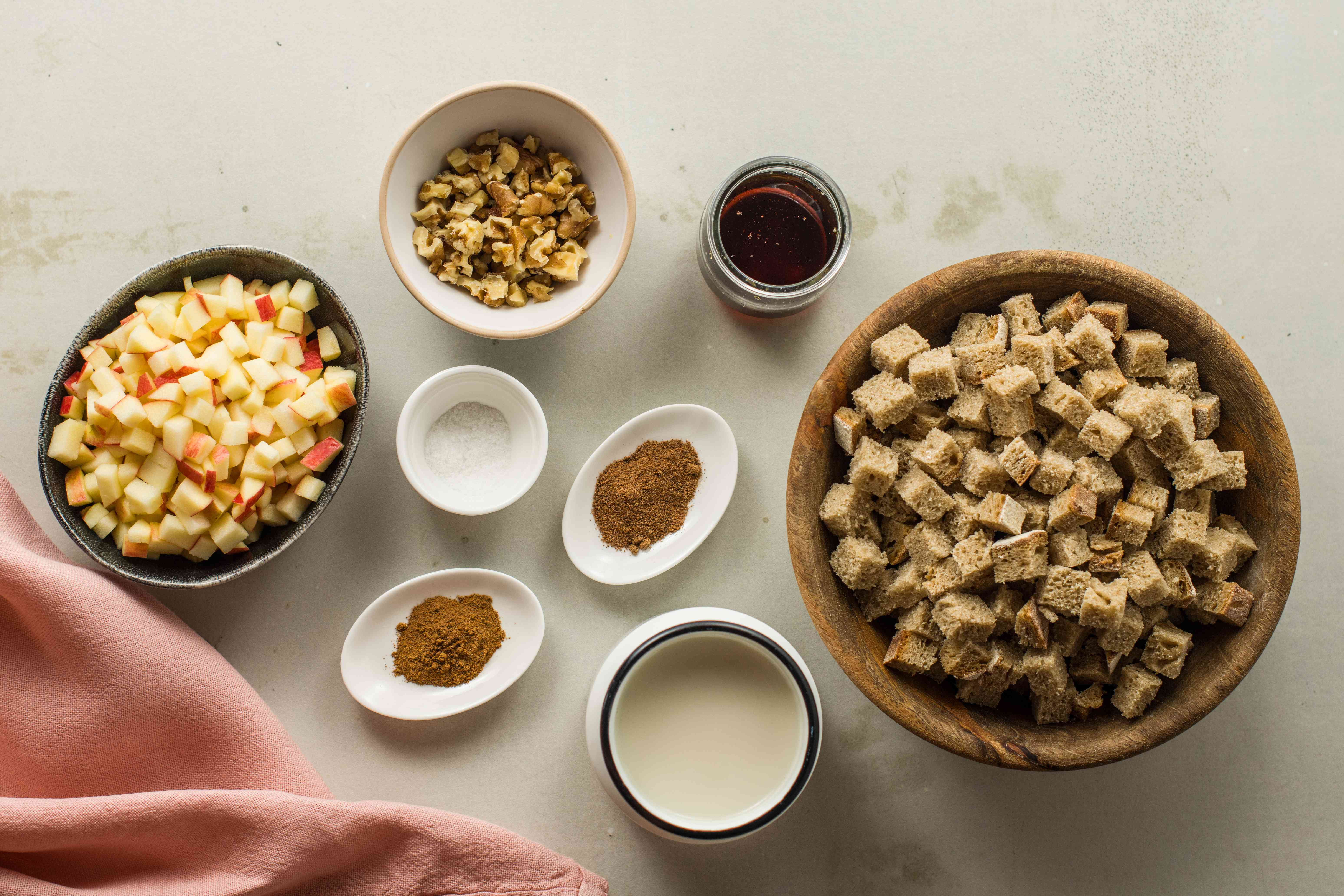 Ingredients for apple bread pudding