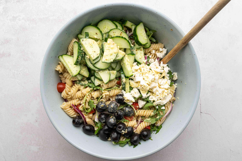 Mediterranean Pasta Salad in a bowl