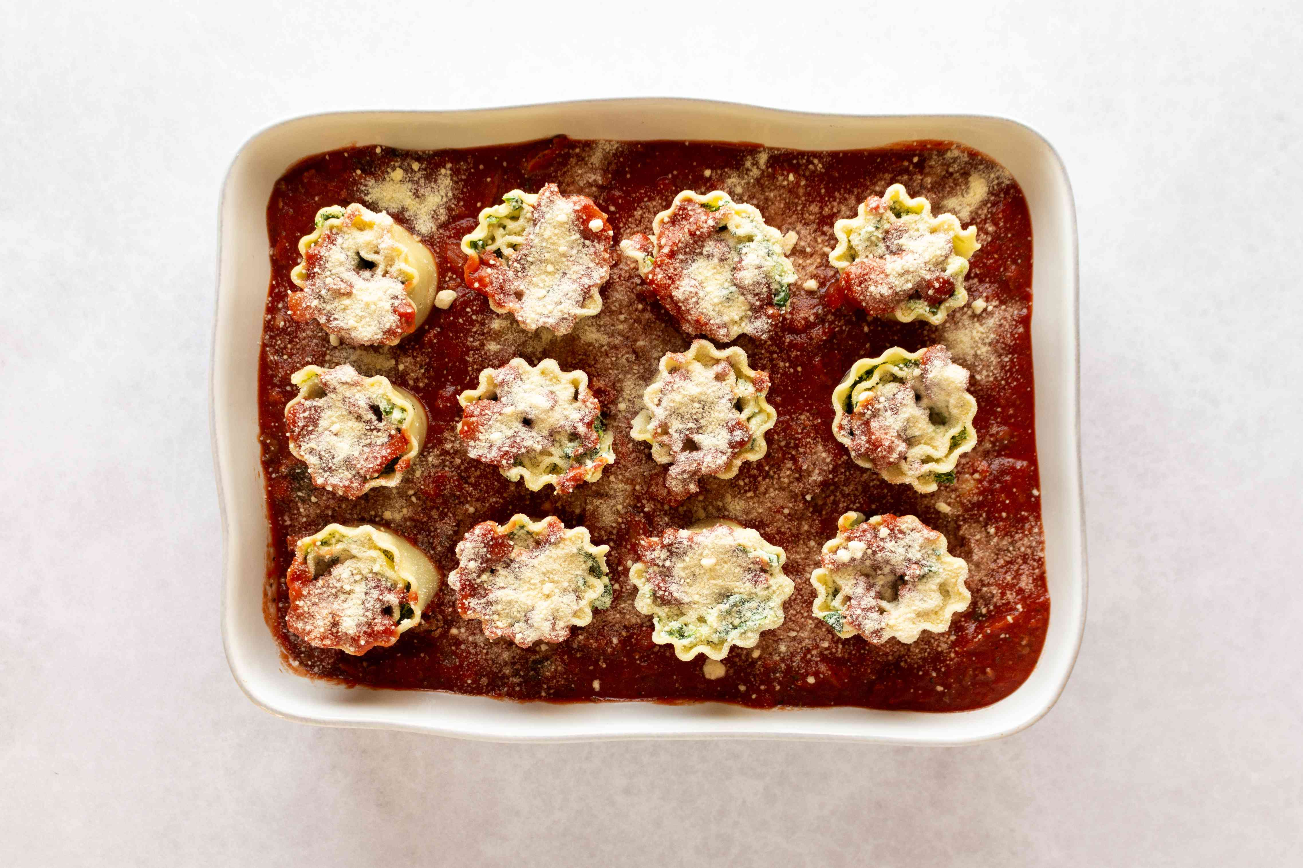 Spinach Lasagna Roll-Ups in a baking dish