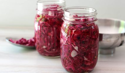 Pickled red cabbage in jars.