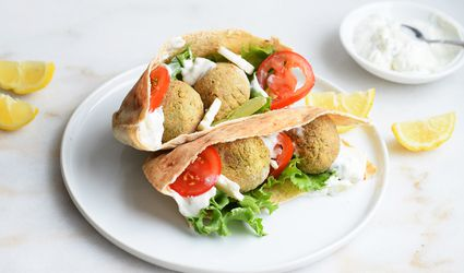 air fryer falafel in a pita