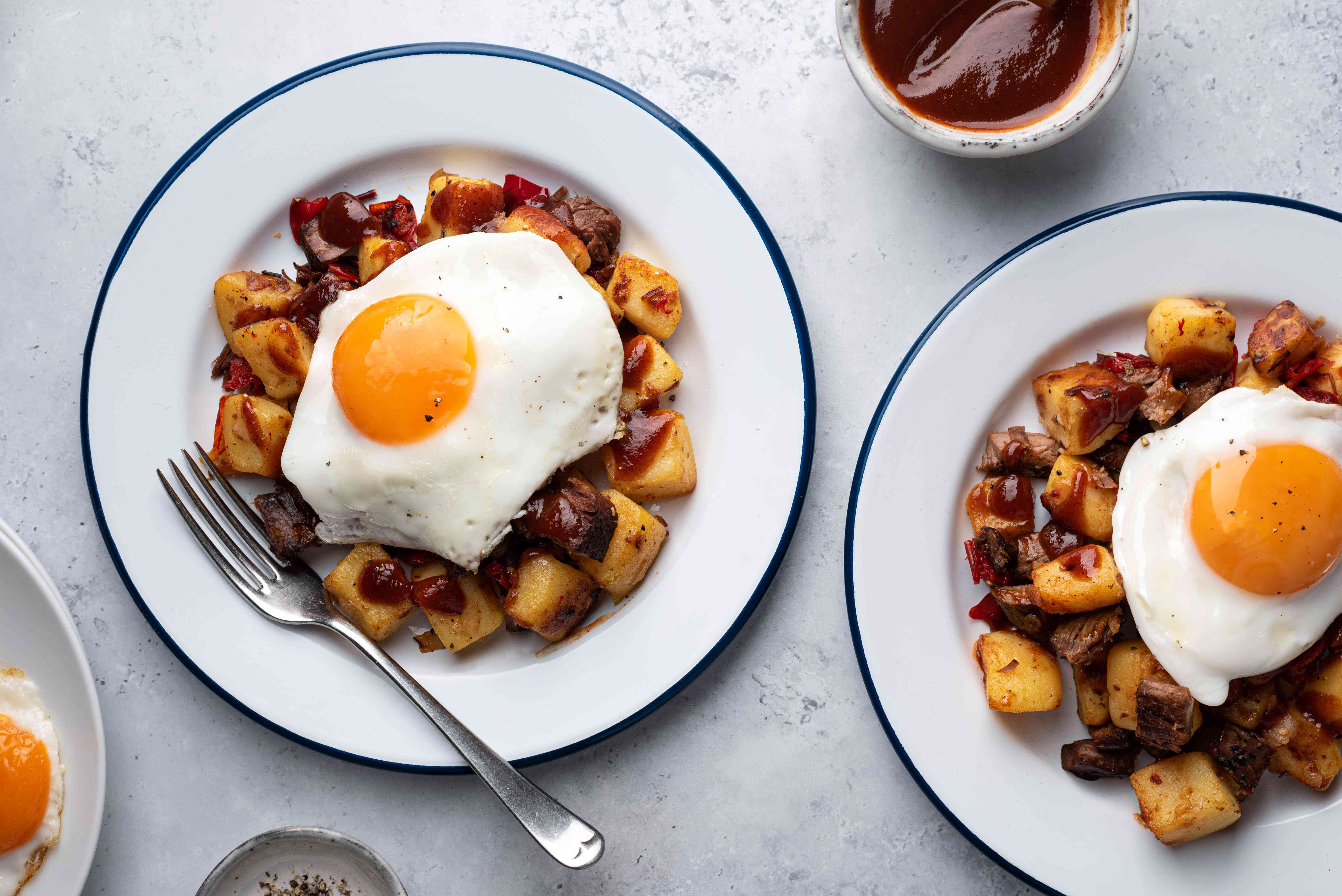 Brisket Hash and Eggs