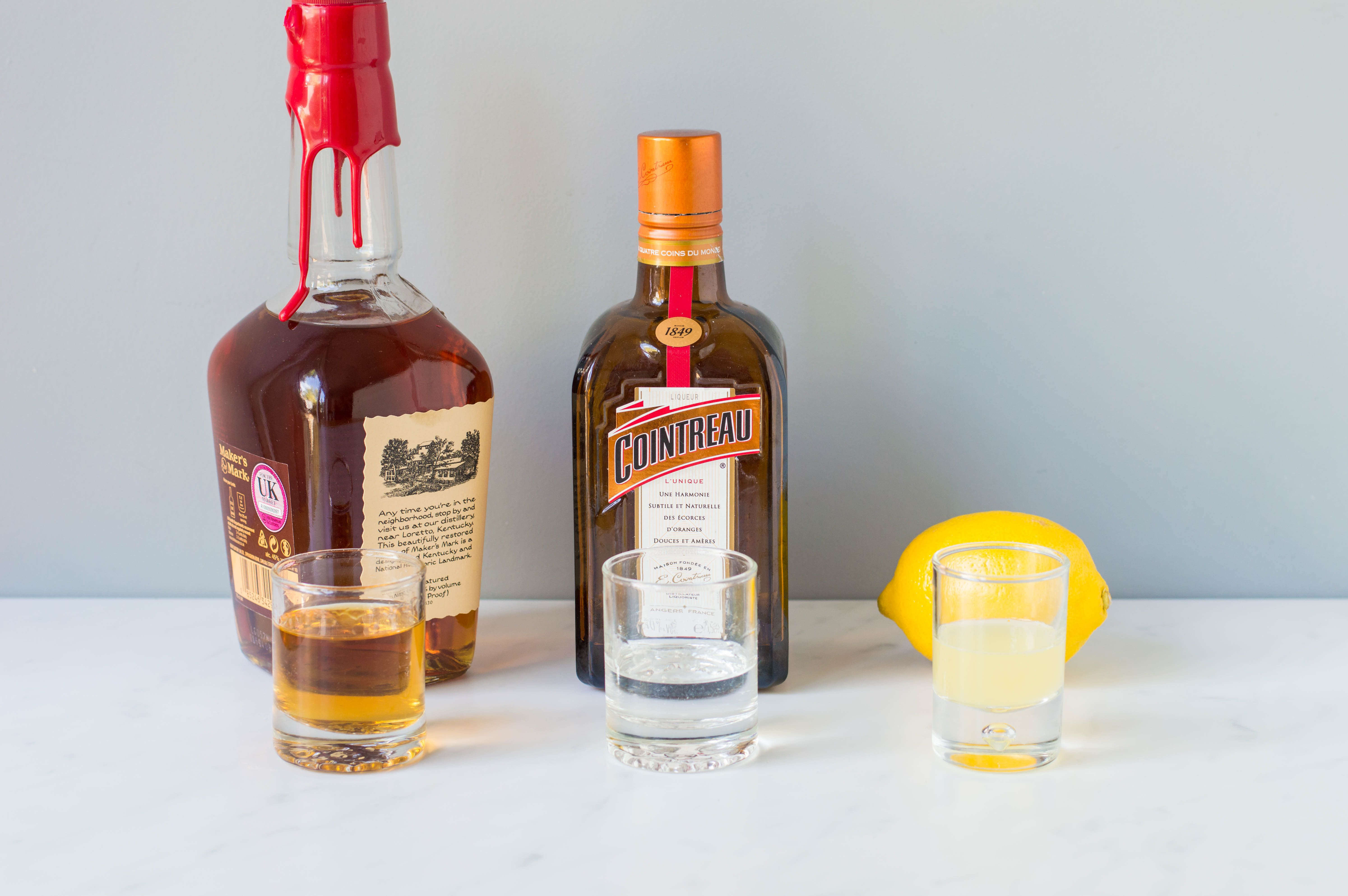 Ingredients for a sidecar cocktail
