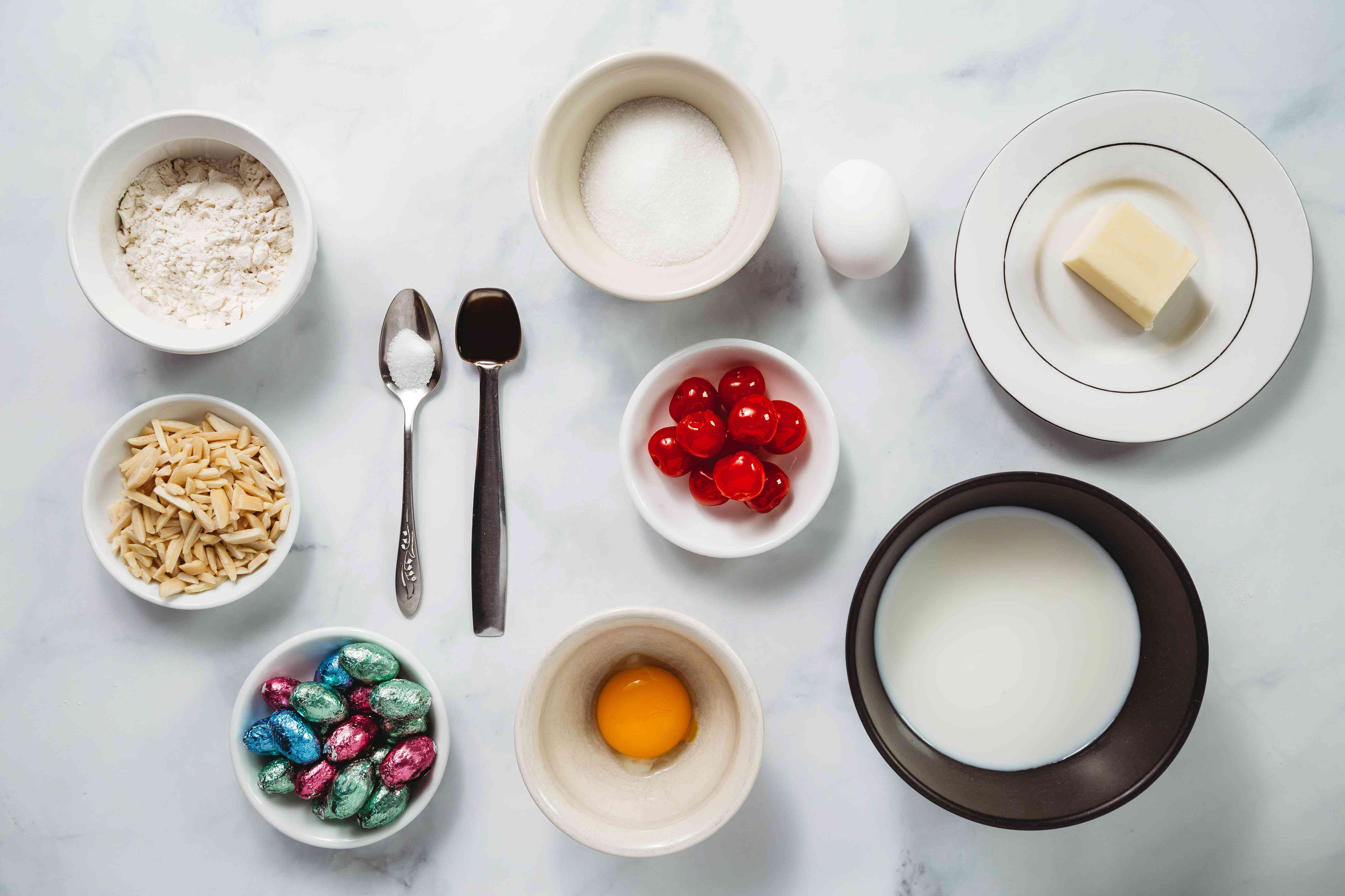 Pastry cream ingredients and decorations