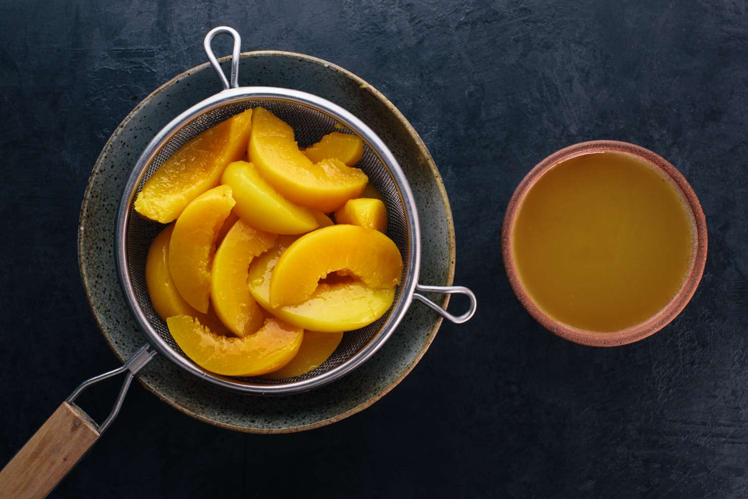 Drain the peaches, reserving the syrup