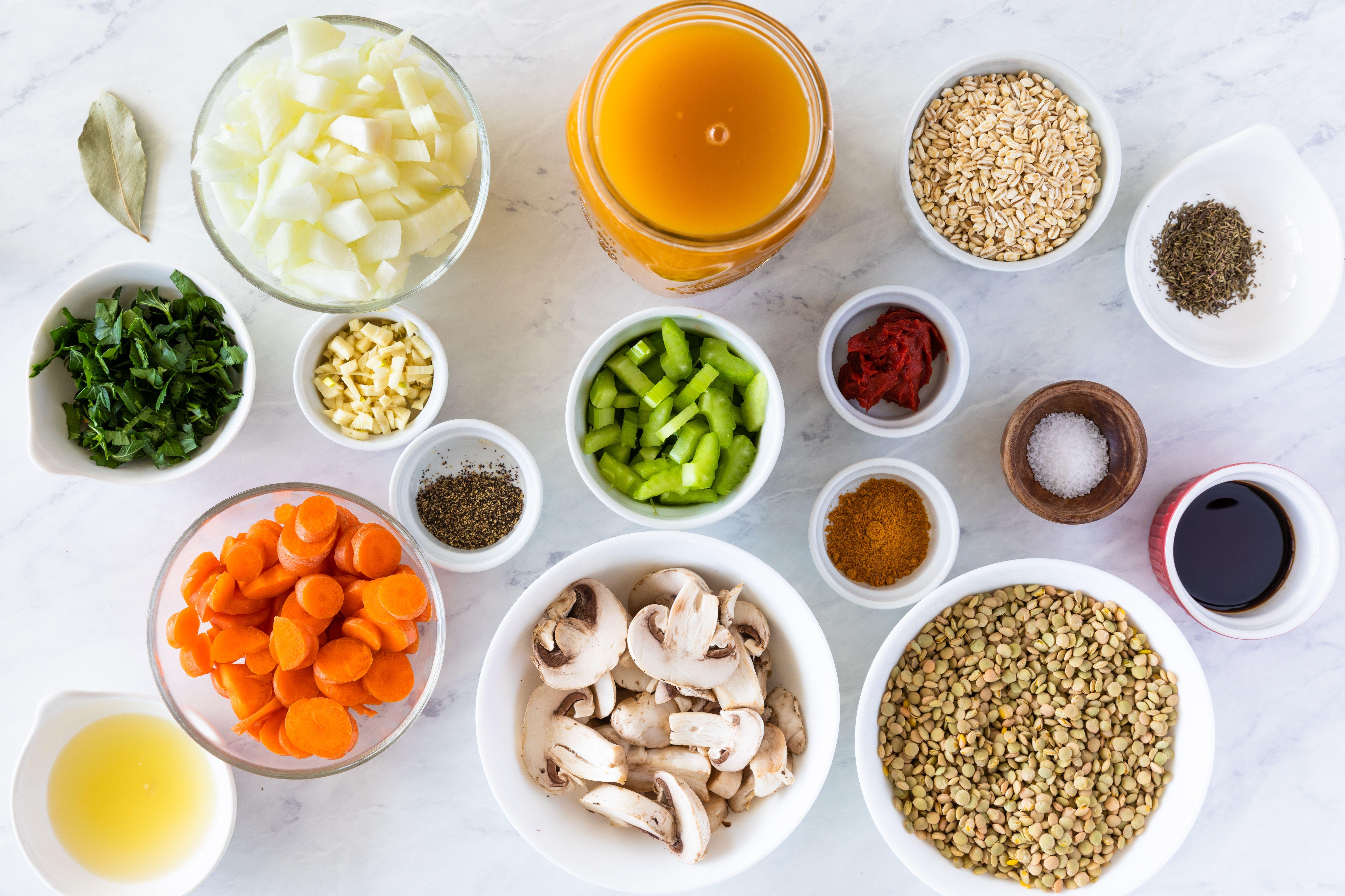 Ingredients for barley vegetable soup with lentils