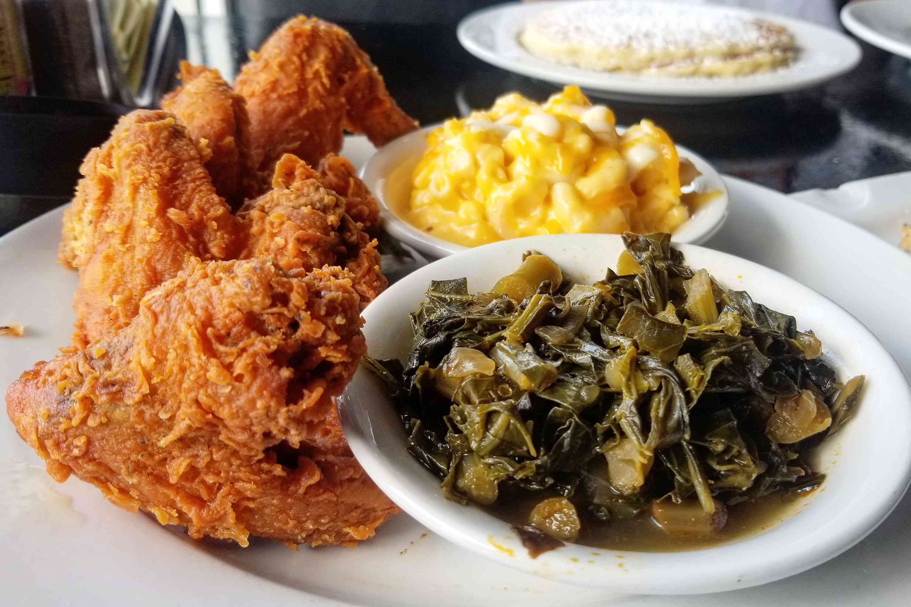 Fried Chicken with collard greens and mac and cheese
