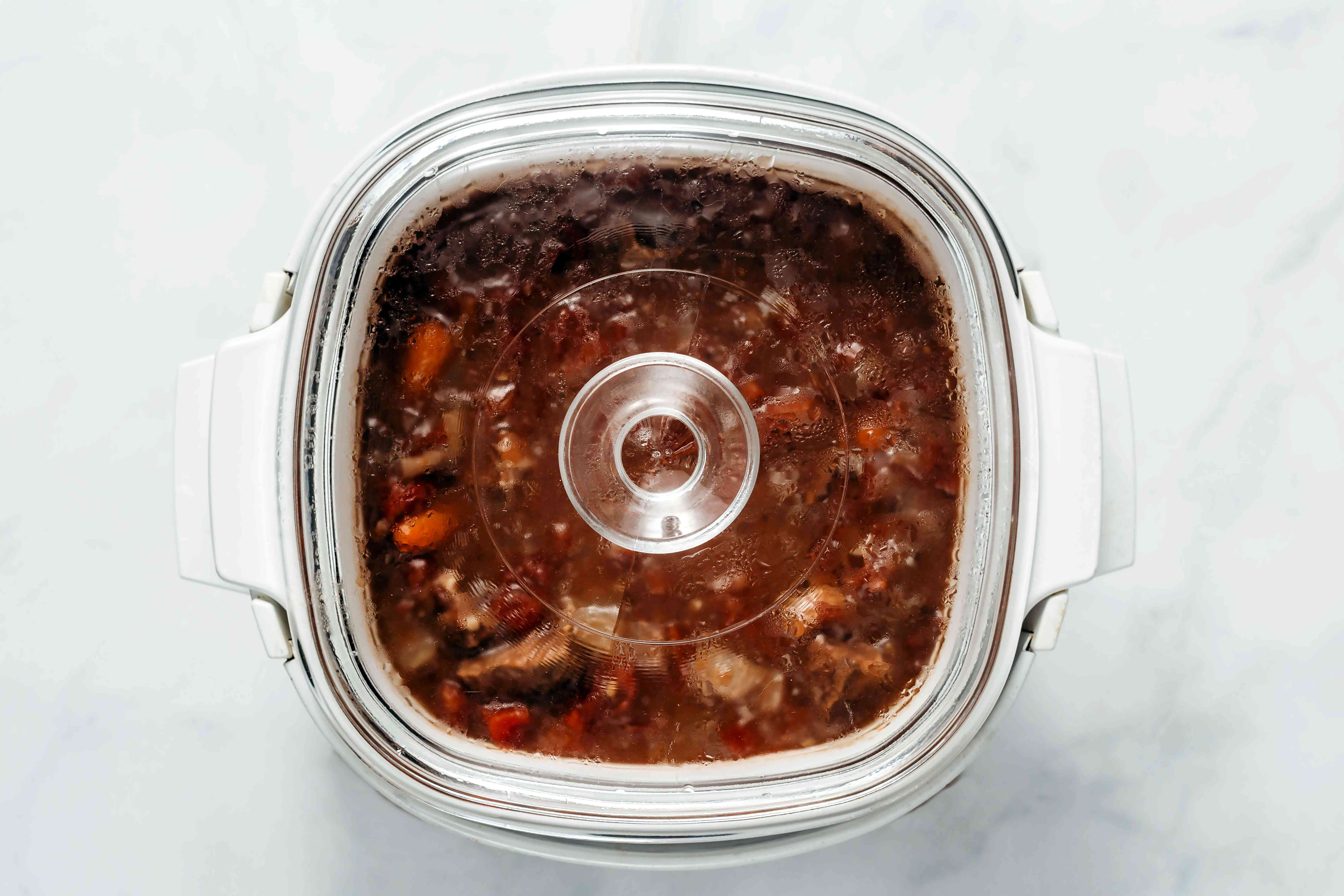 beef stew cooking in a Crockpot