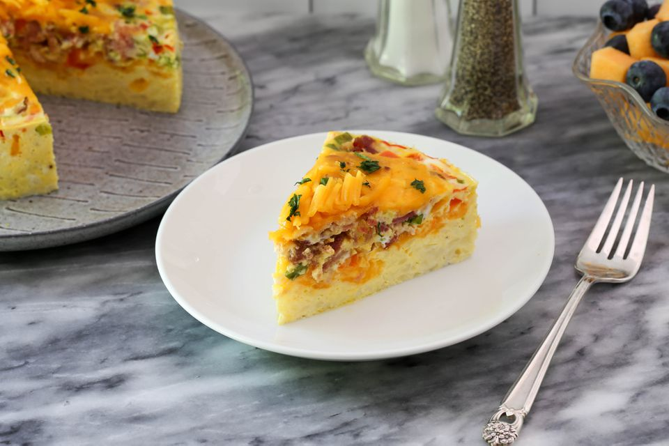 slice of instant pot breakfast casserole