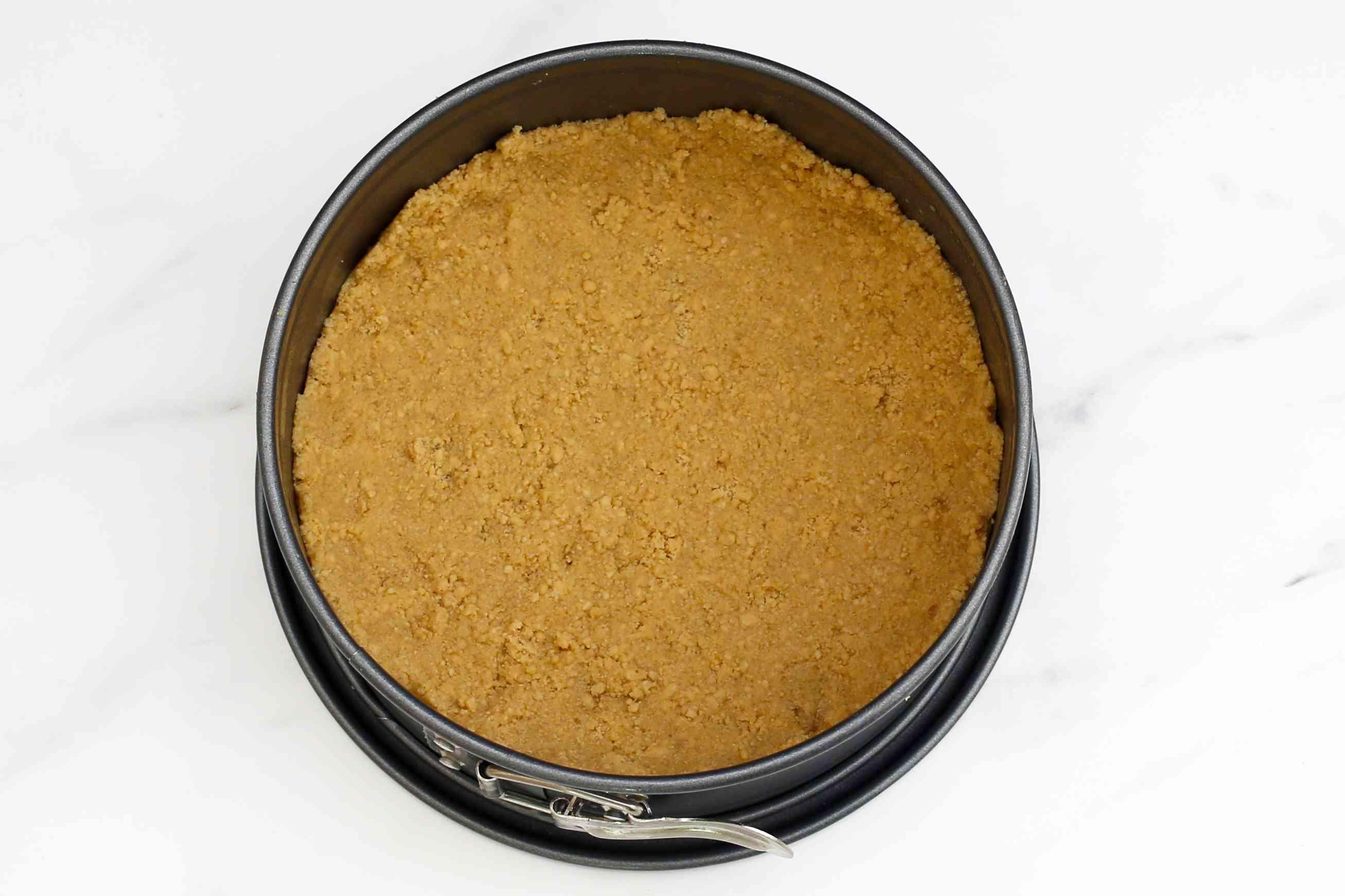 graham cracker crust in the pan