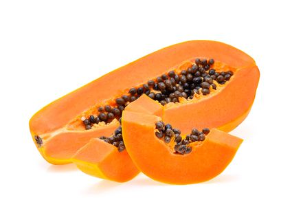 A sliced up papaya