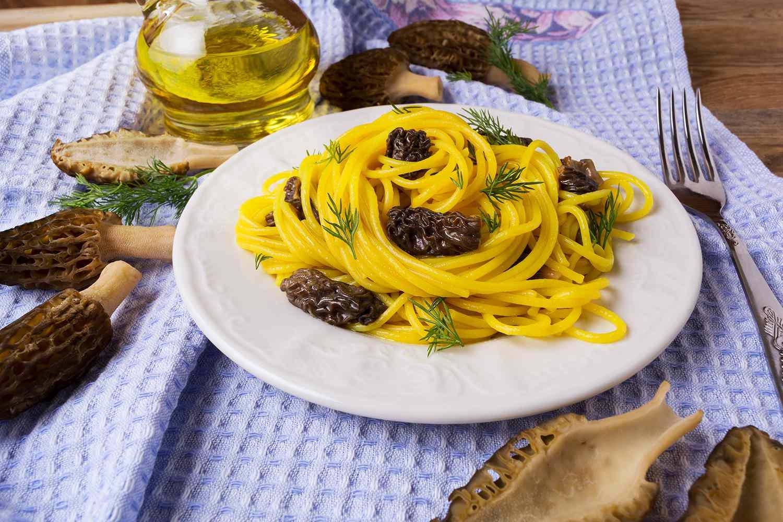 Italian pasta with black morel