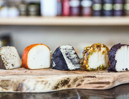Vegan cheese on display at Rebel Cheese