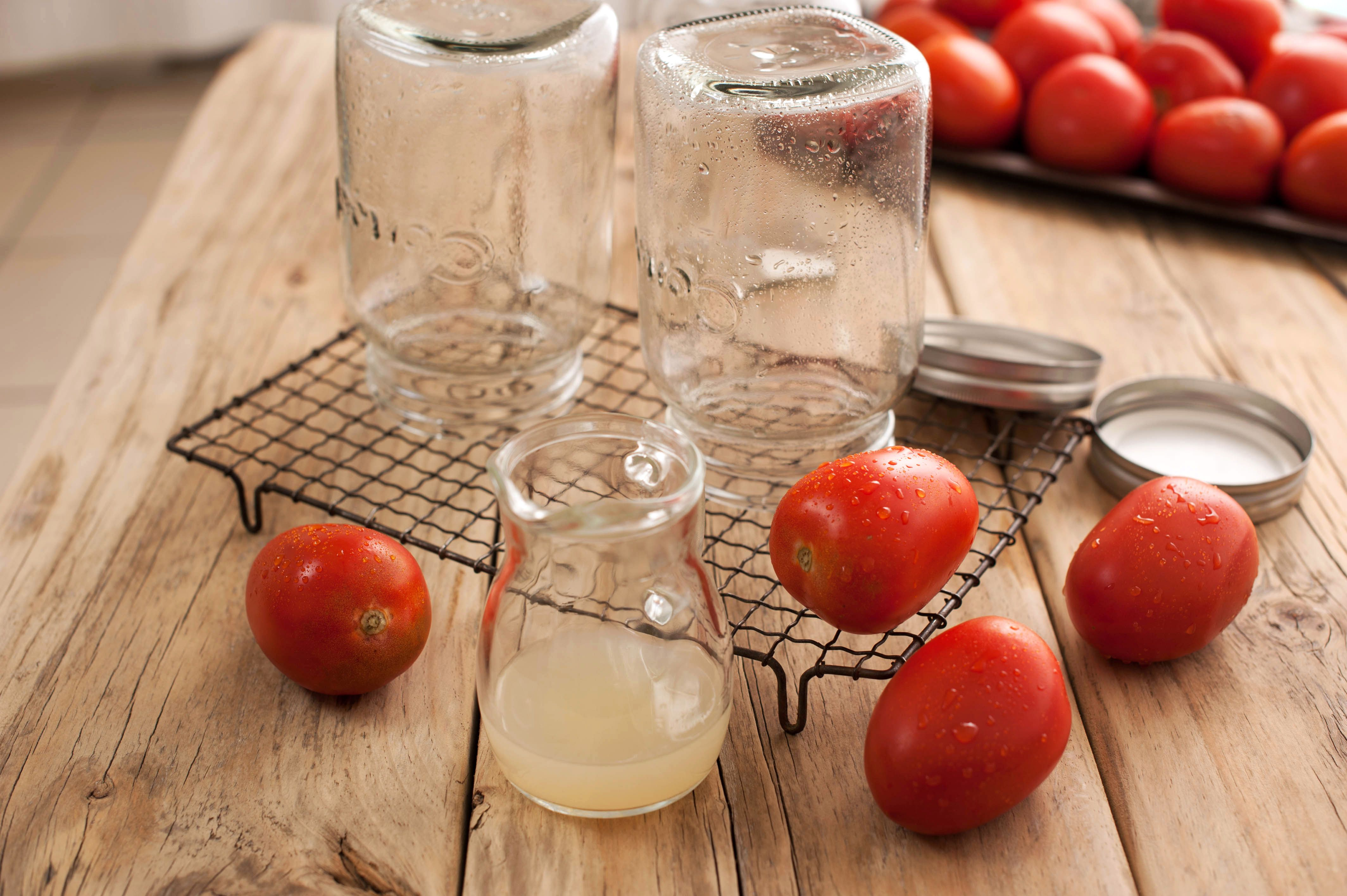 Canning whole tomatoes ingredients and tools