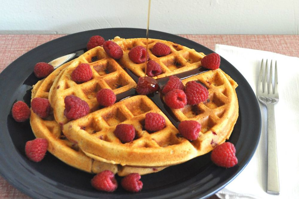 Raspberry Whole Wheat Waffles