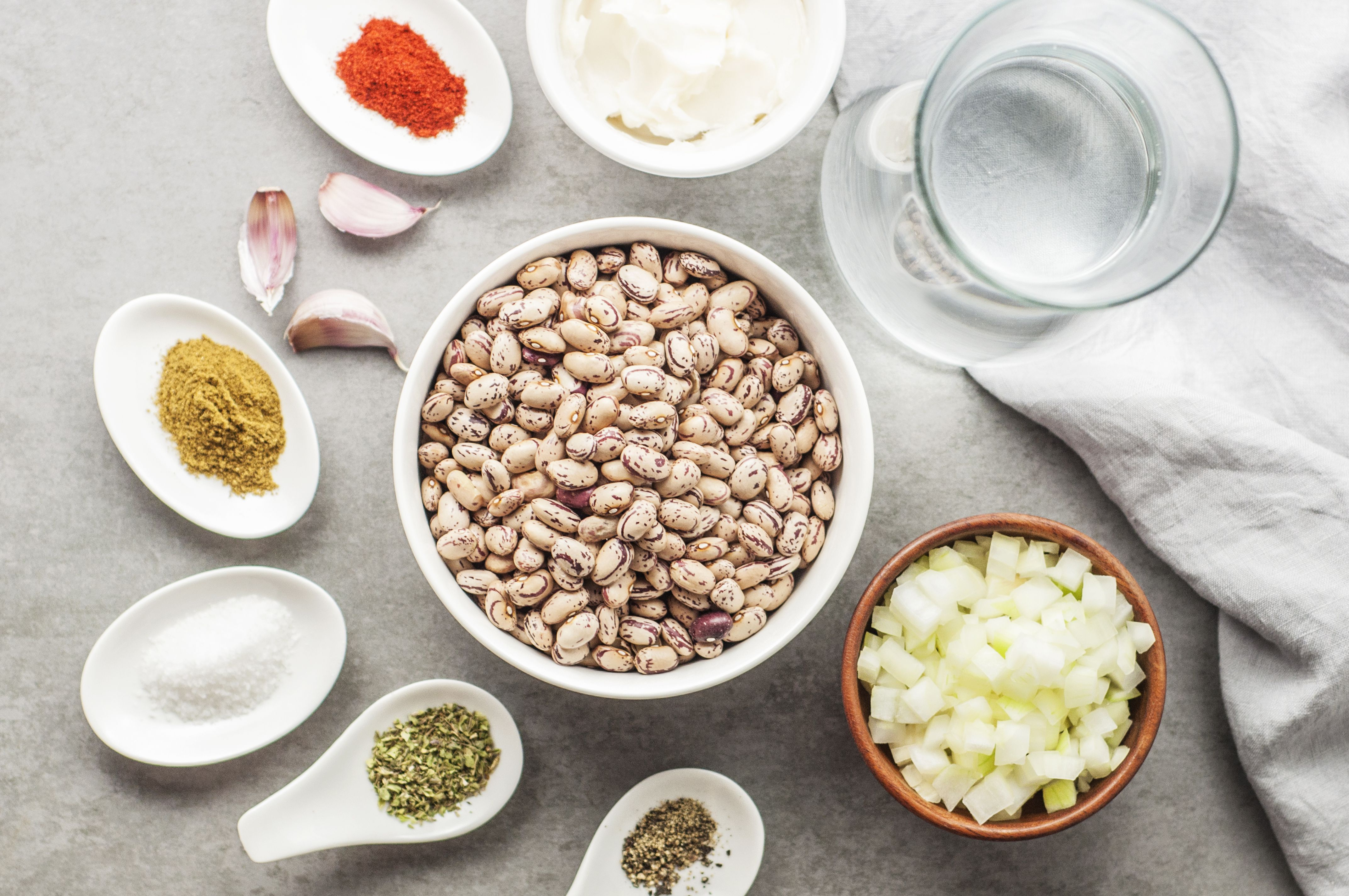 Ingredients for Instant Pot refried beans