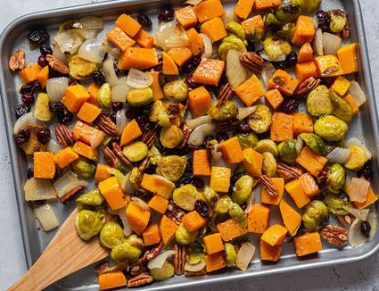 Roasted Brussels Sprouts, Butternut Squash, and Cranberries