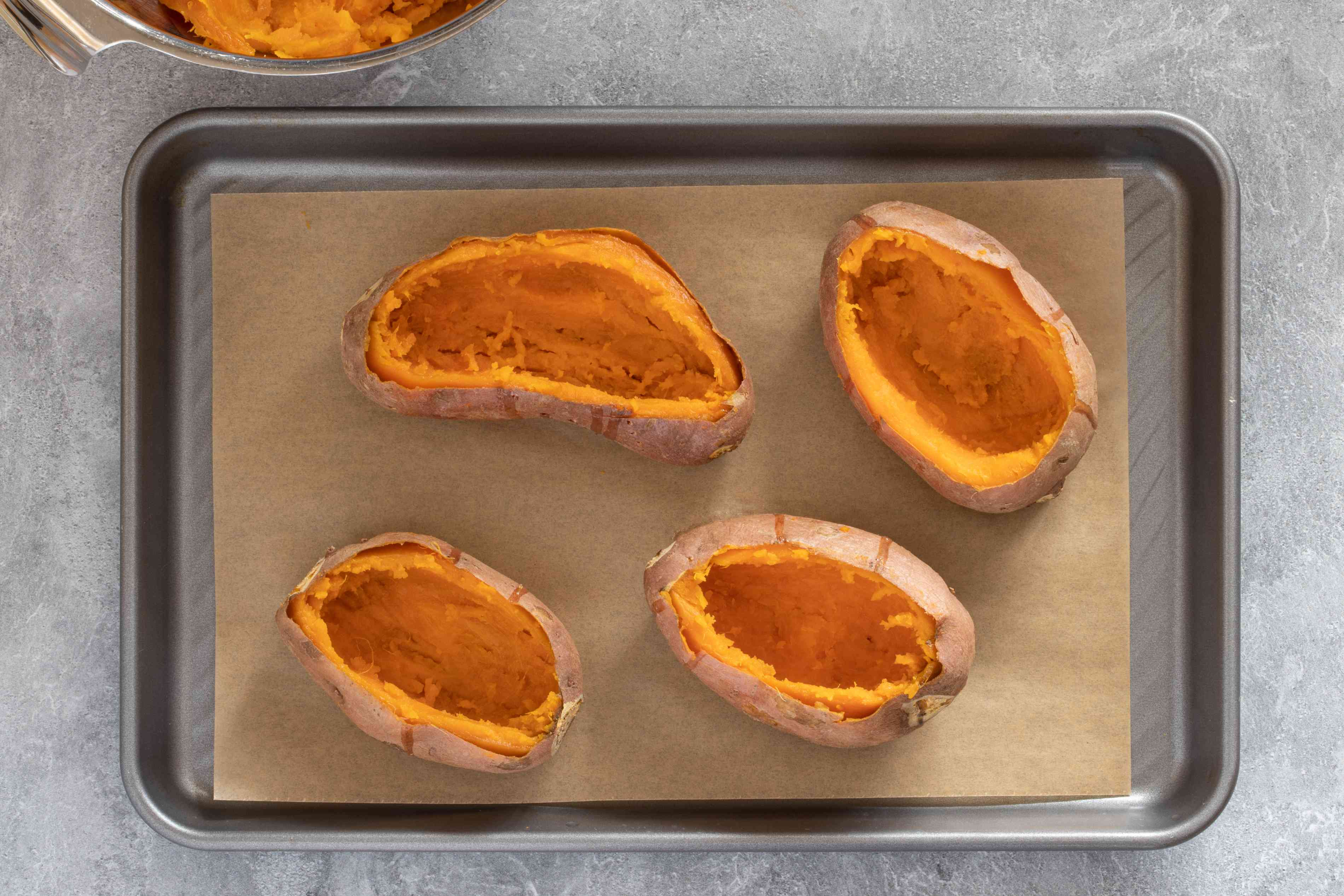 Sweet potato shells ready to be filled