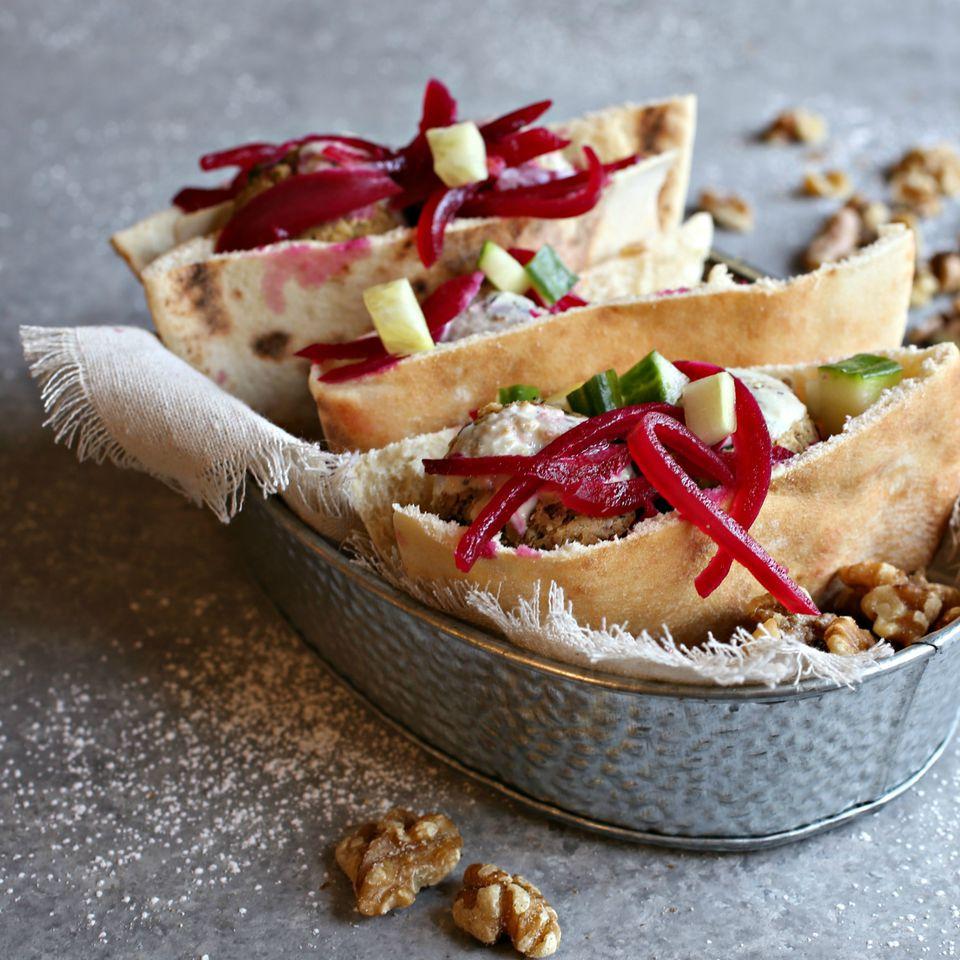 Walnut Falafel Pita with Pickled Onions