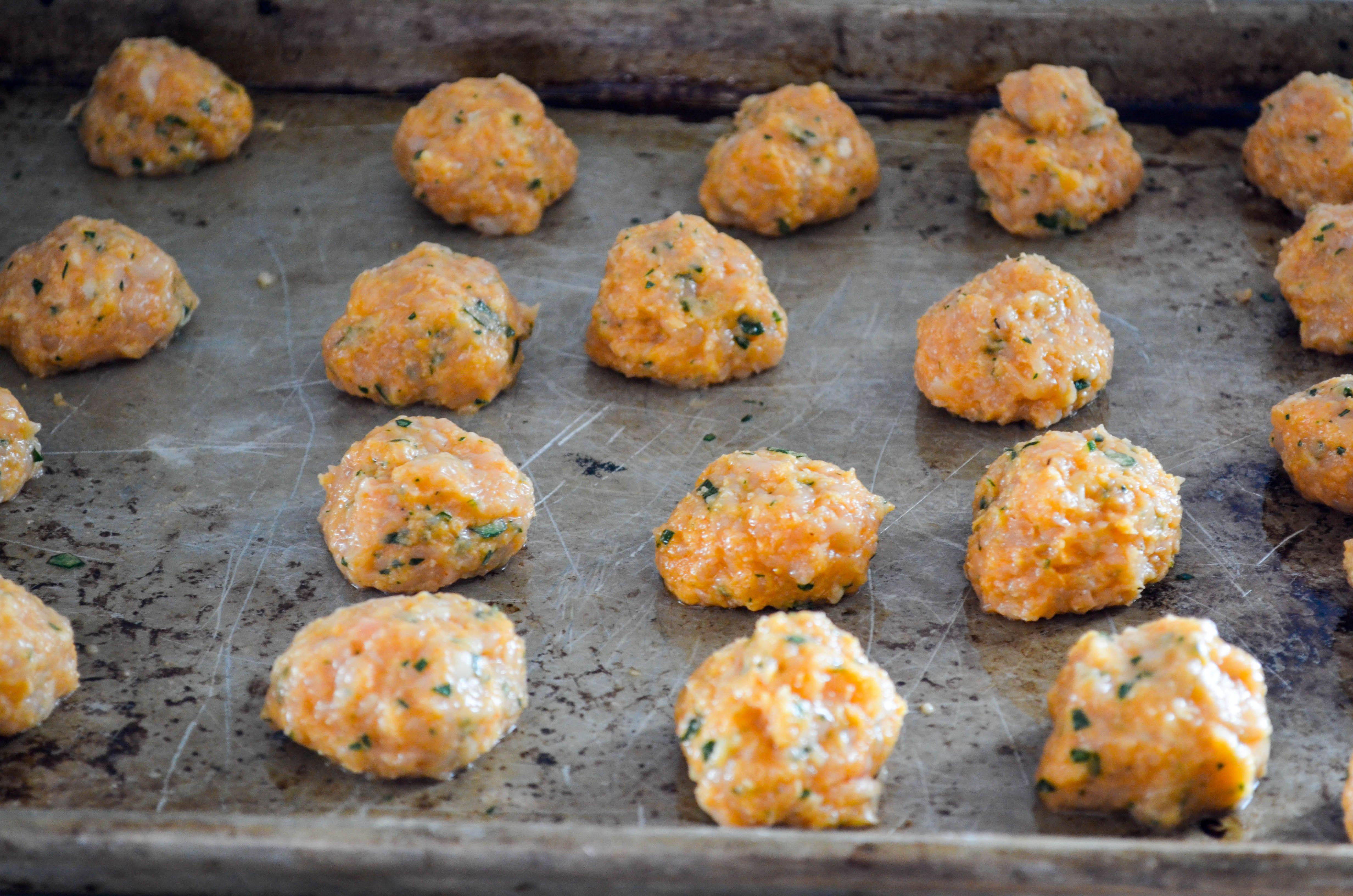 buffalo chicken meatballs - arrange on baking sheet