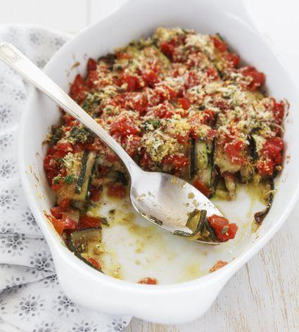 A bowl of zucchini and tomato casserole