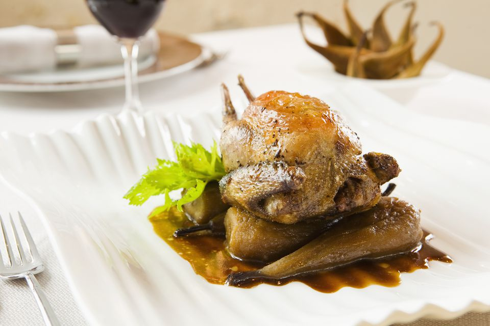 Pigeon with pears, a speciality in the Loire Valley area at La Maison Tourangelle
