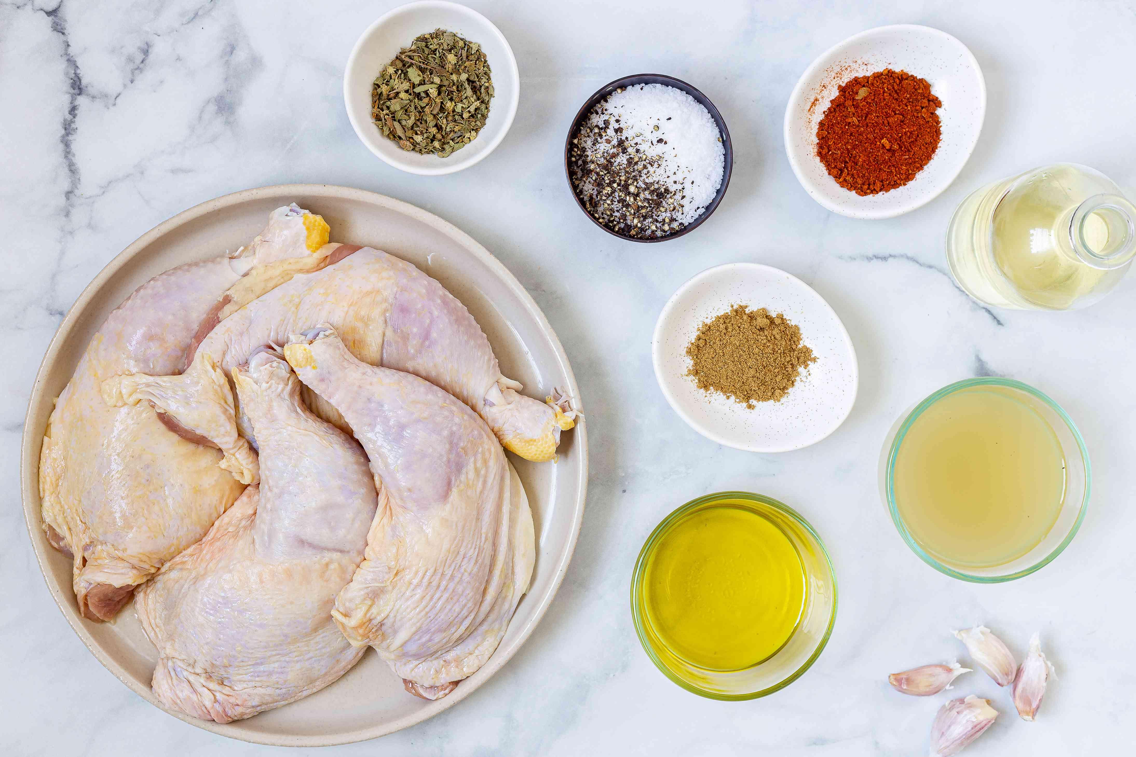 Ingredients for making garlic roasted chicken legs