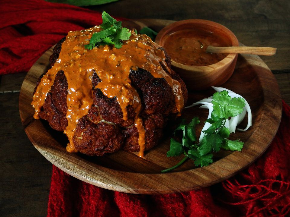 receta de pollo al horno con mantequilla de coliflor asada entera
