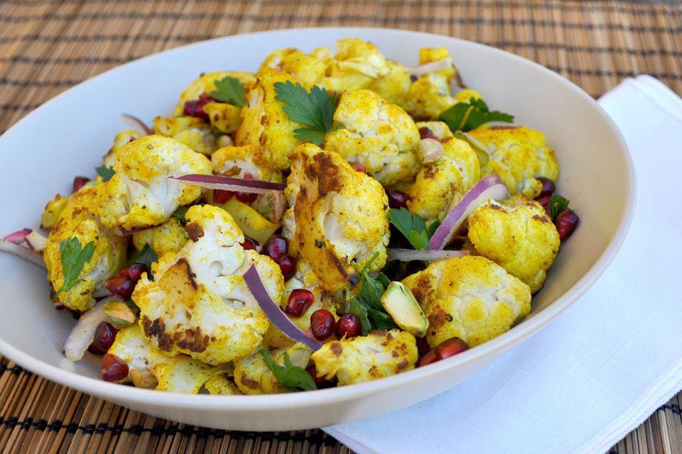 Roasted cauliflower salad with pomegranate.