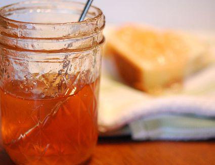 Apple jelly in glass jar