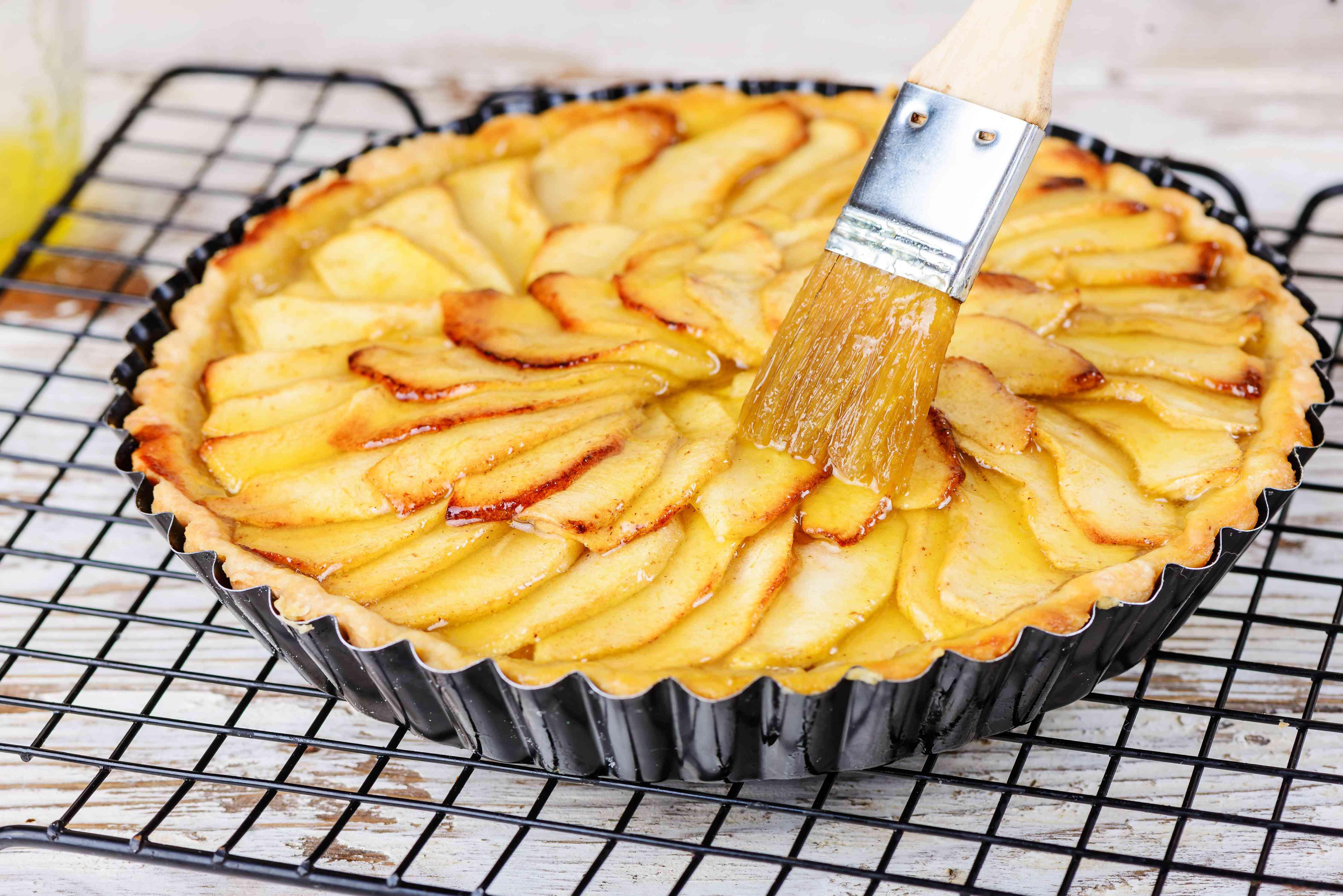 Brush sauce on apples
