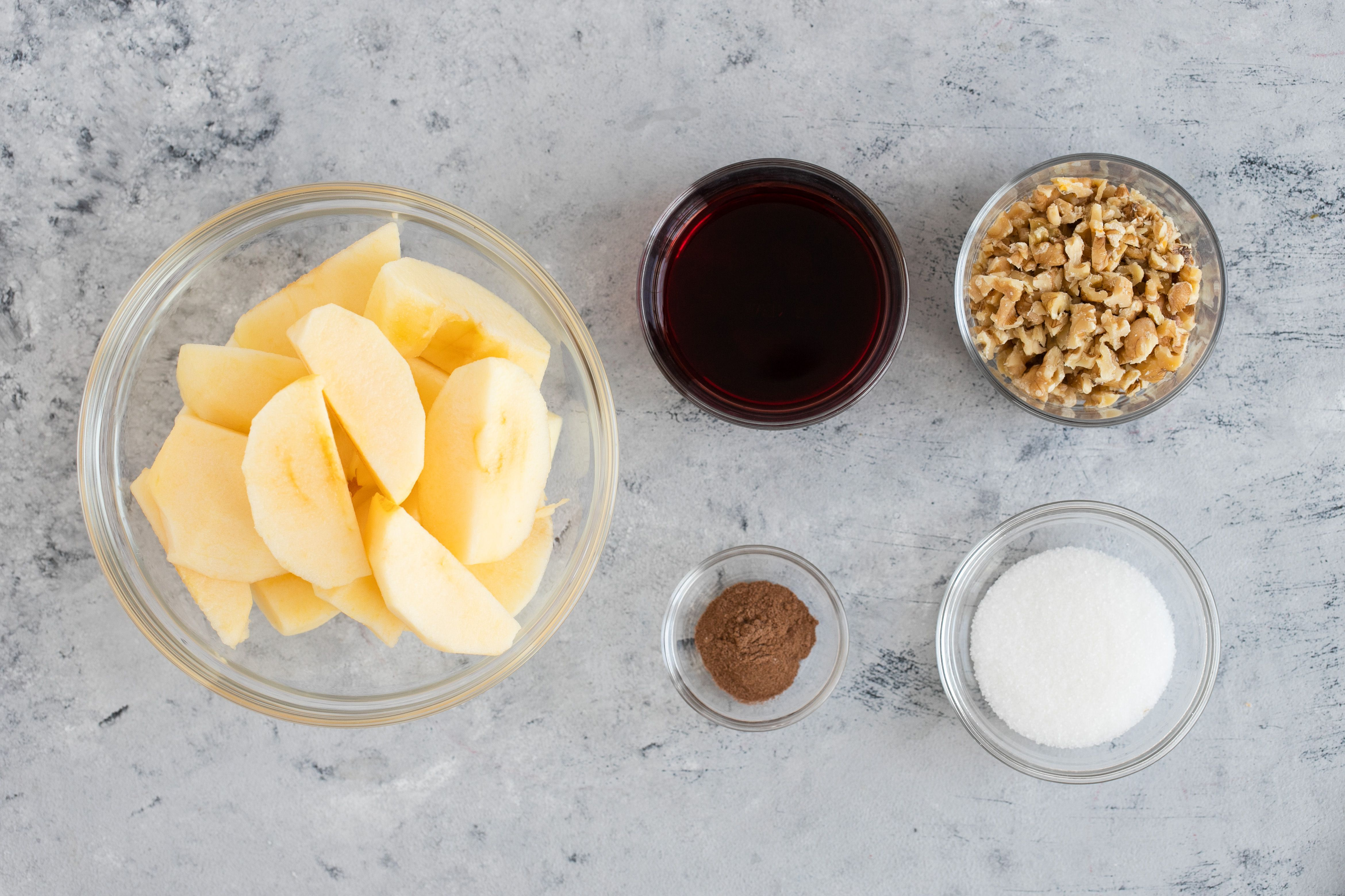 Ingredients for Apple and Walnut Charoset