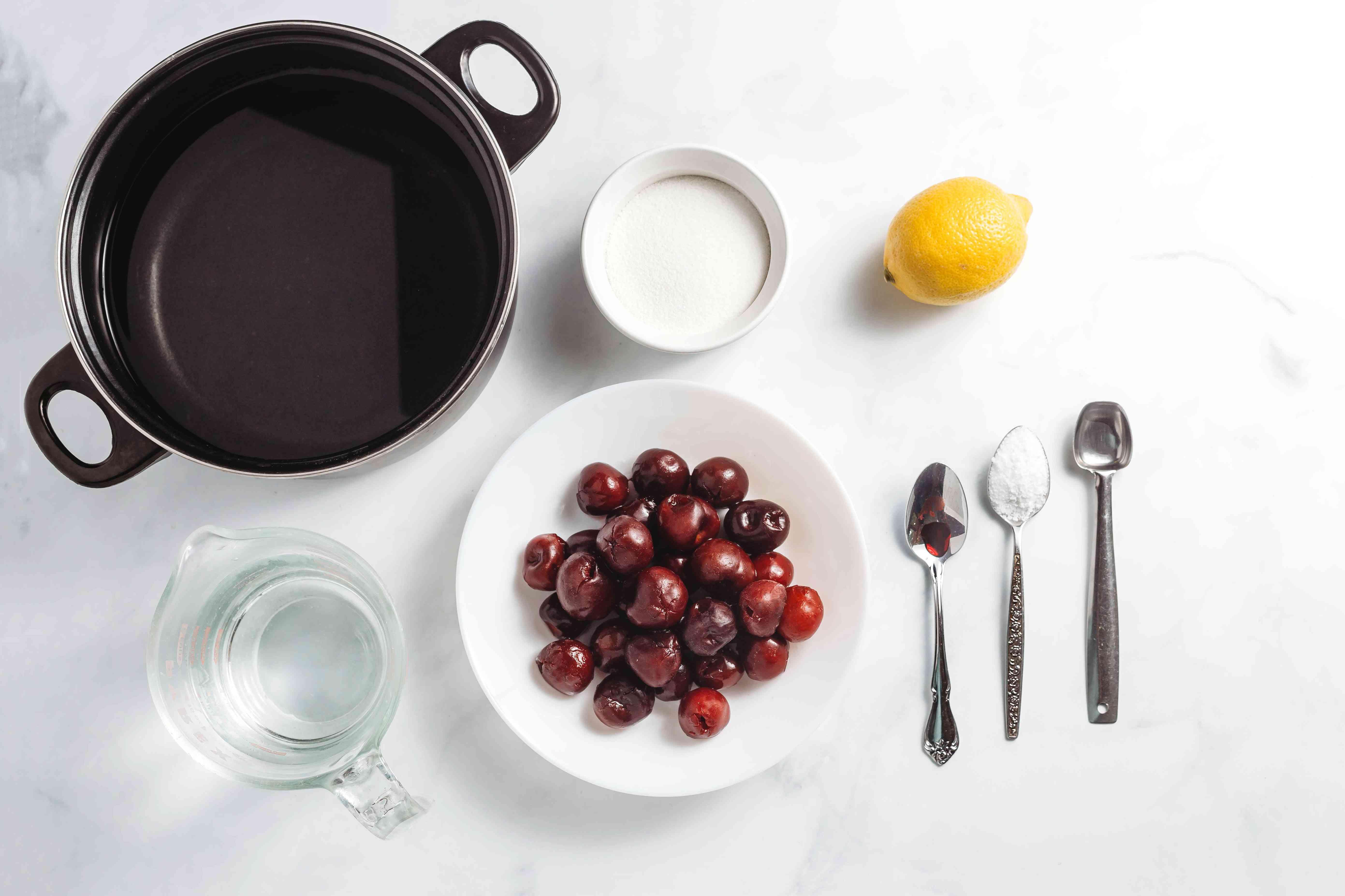 Ingredients for making homemade maraschino cherries