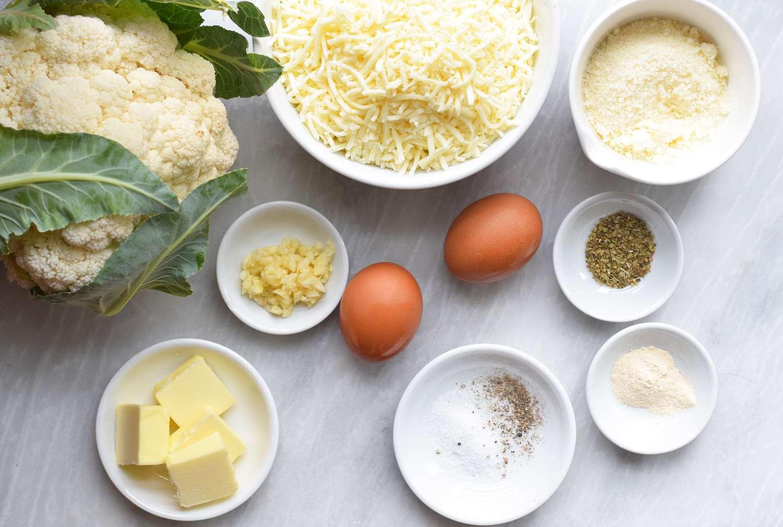 Ingredients for cauliflower cheese bread