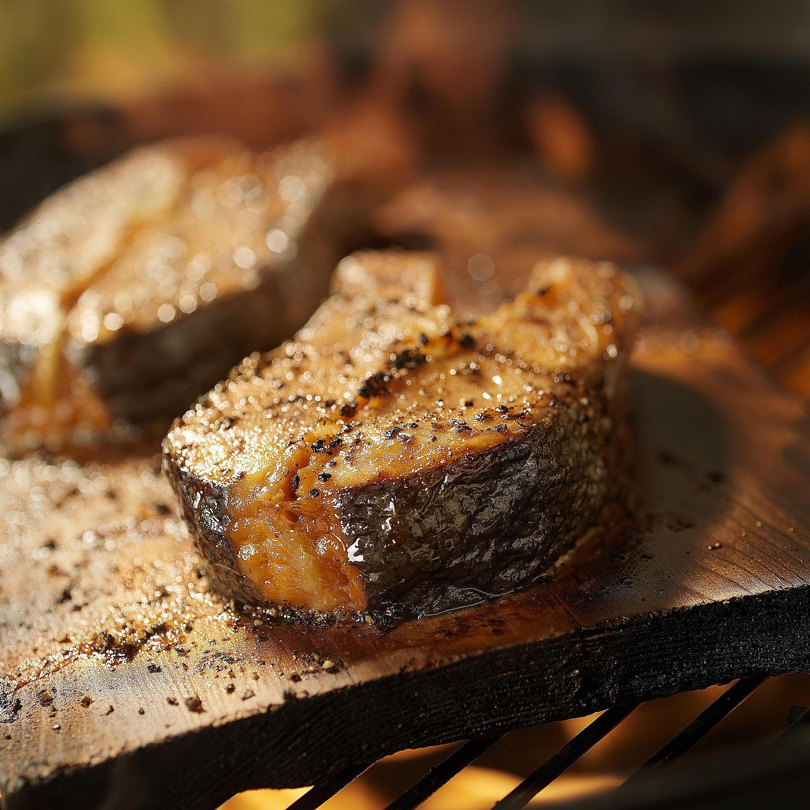 Plank Grilled Salmon Steaks