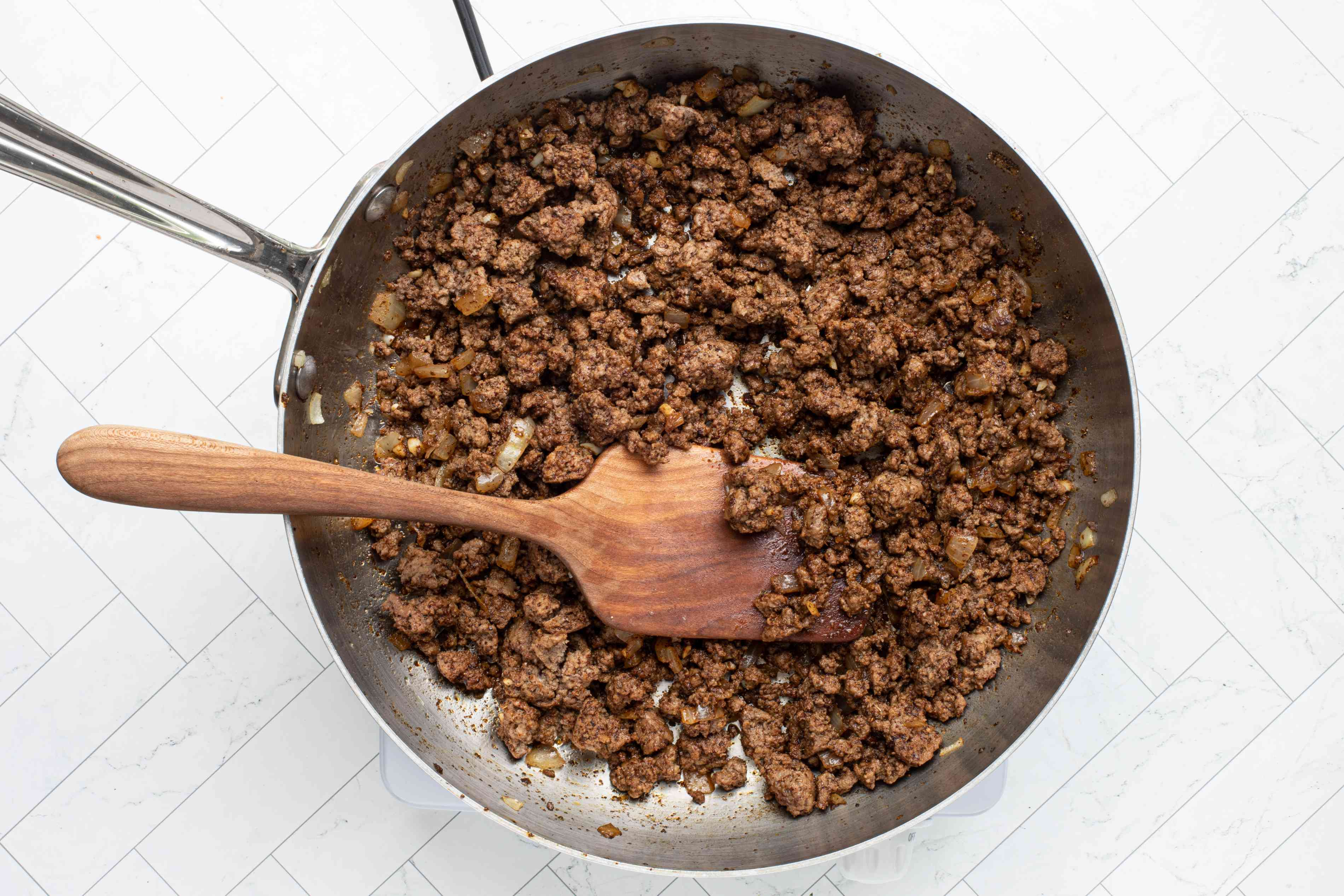 cooking taco meat, ground beef
