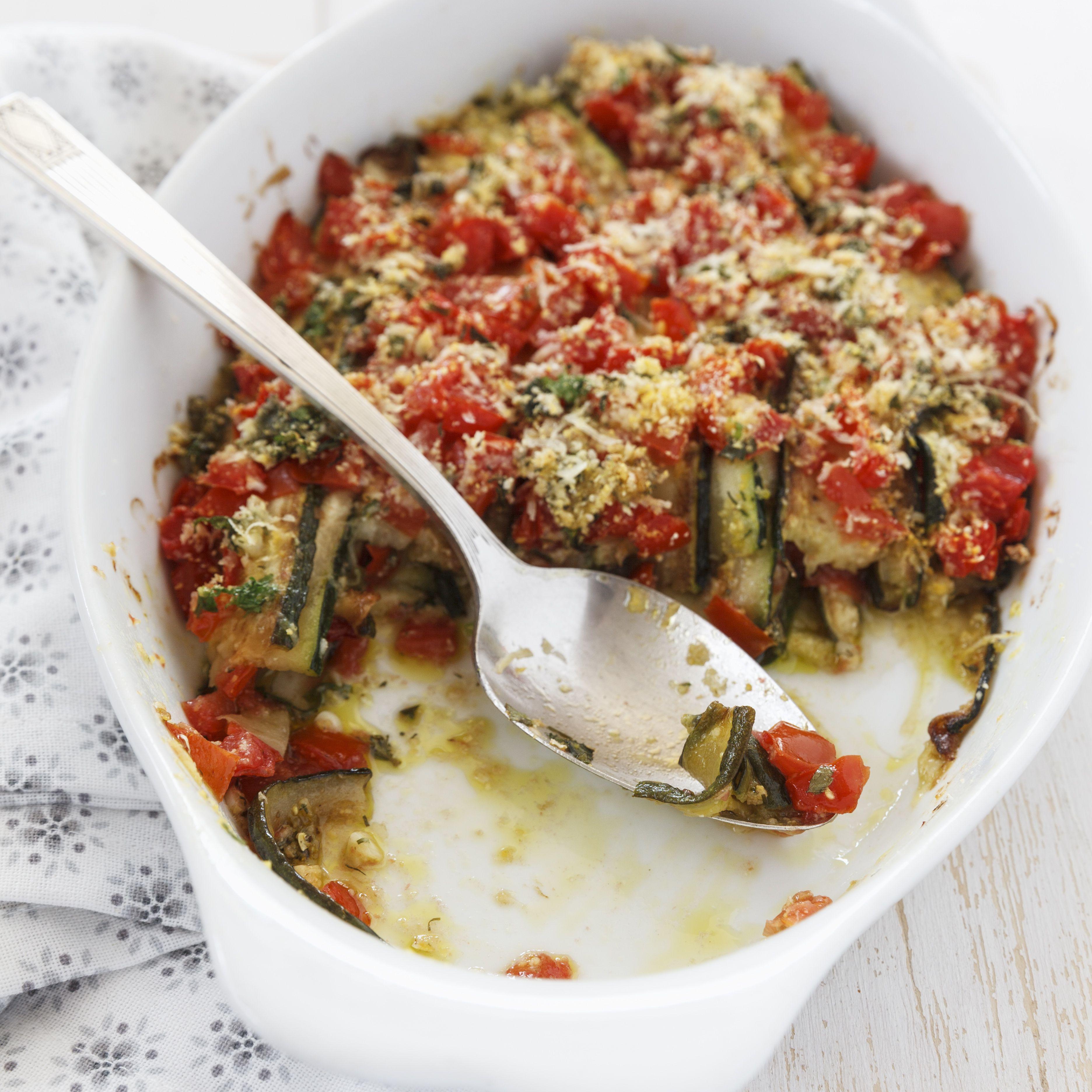 Zucchini Tomato Gratin in gratin dish