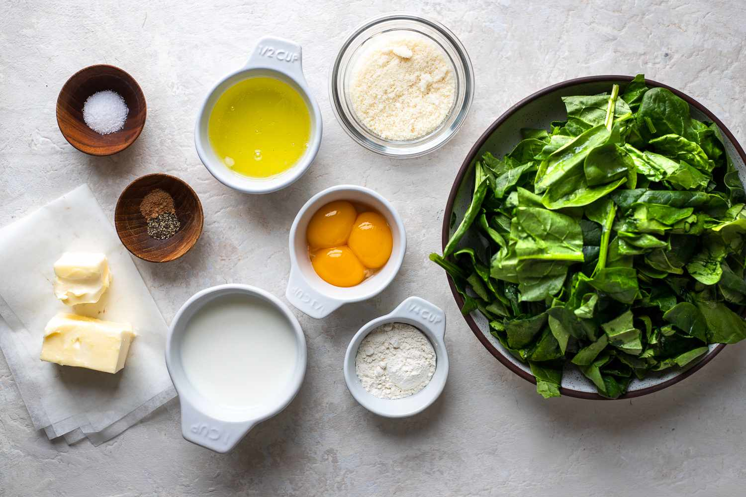 Easy Classic French Spinach Soufflé ingredients