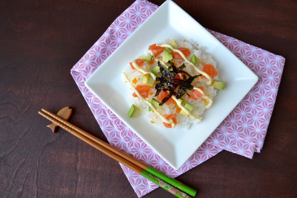 Salmon and Avocado Chirashi Sushi