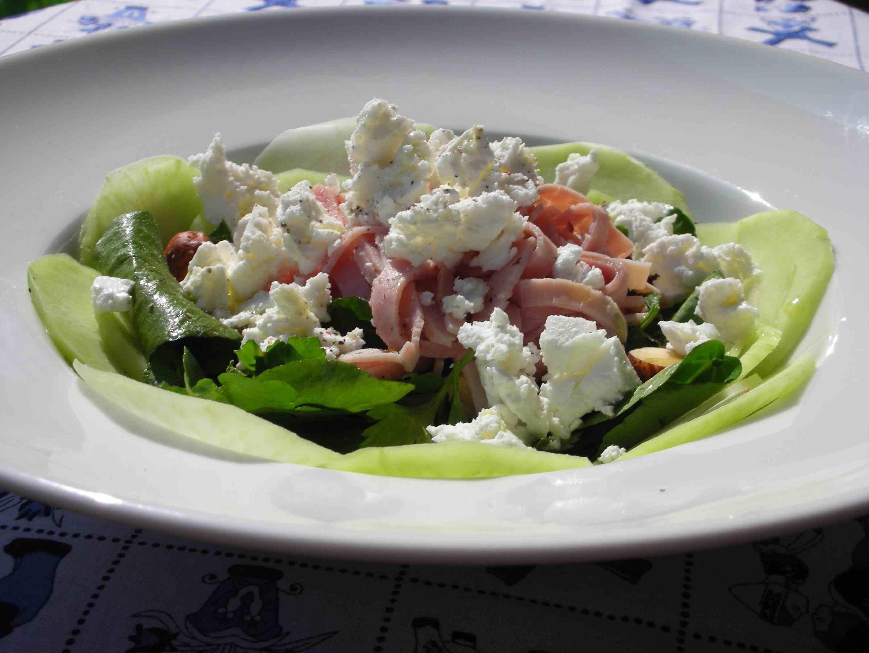 Kohlrabi Salad with Watercress, Ham and Chevre