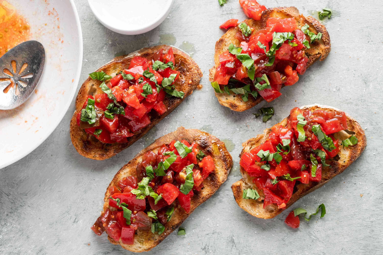 Authentic Bruschetta on toasted bread
