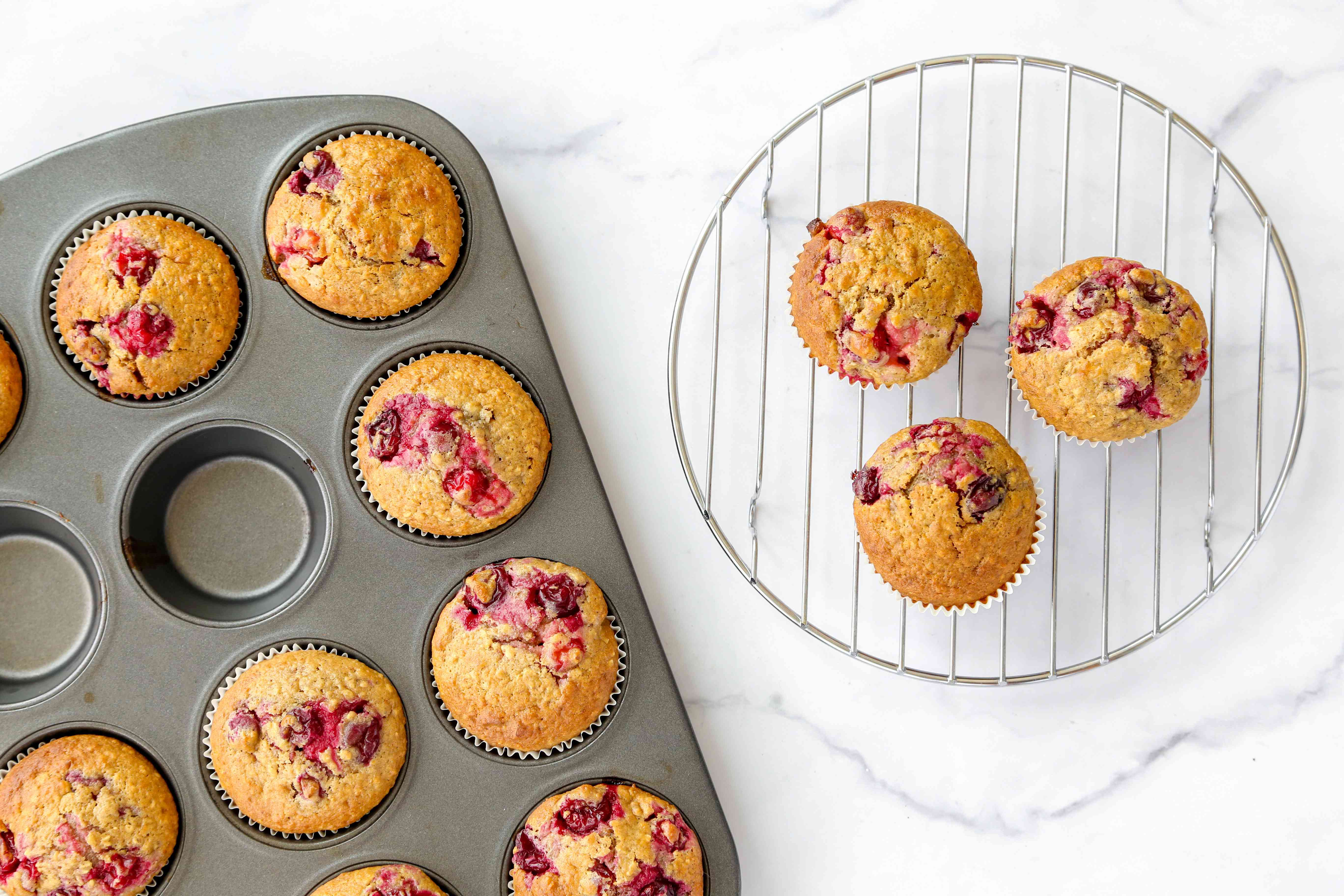 Cranberry Oatmeal Muffins on a cooling rack