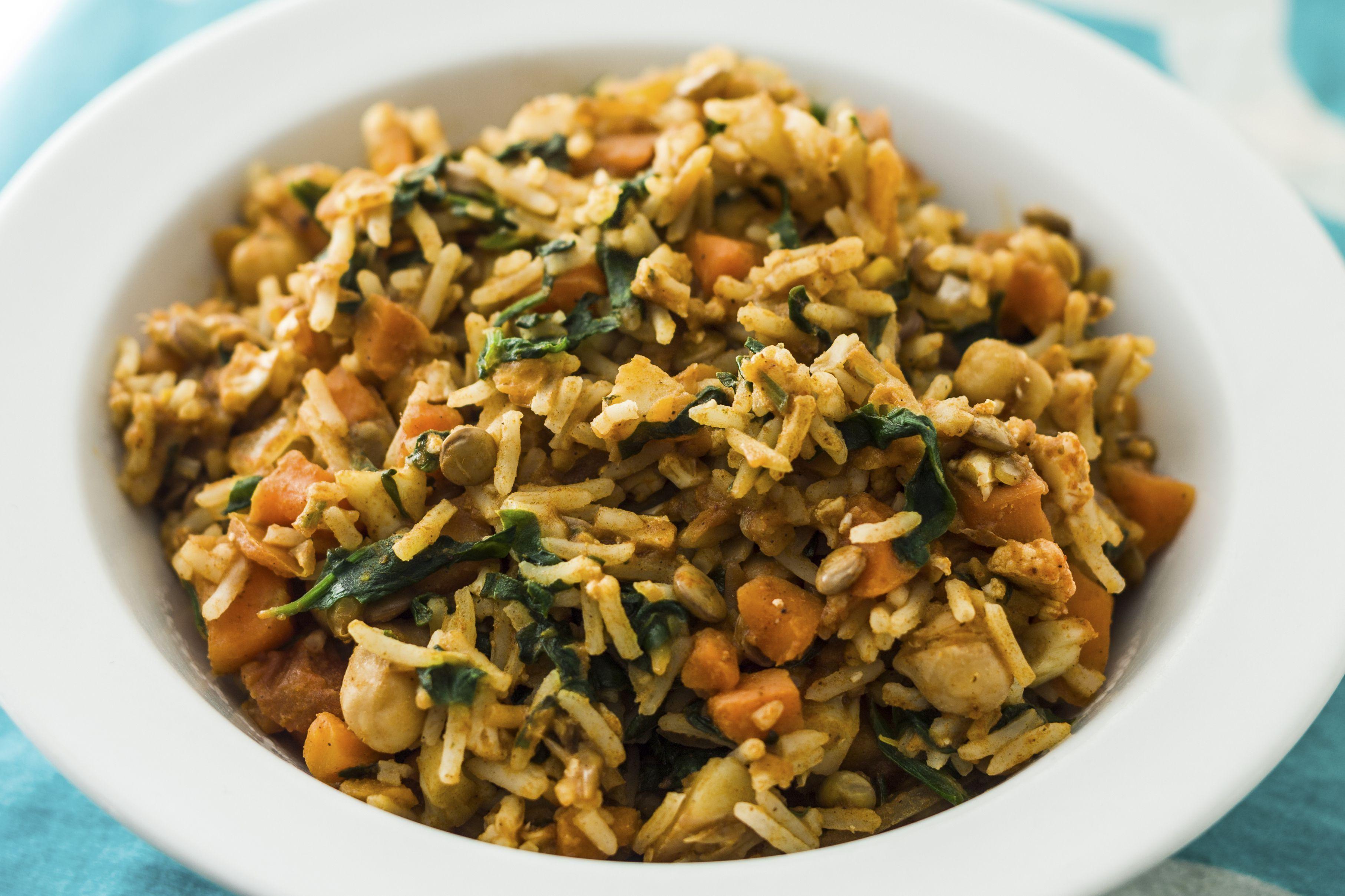 Vegan Crock Pot Curried Rice and Lentils