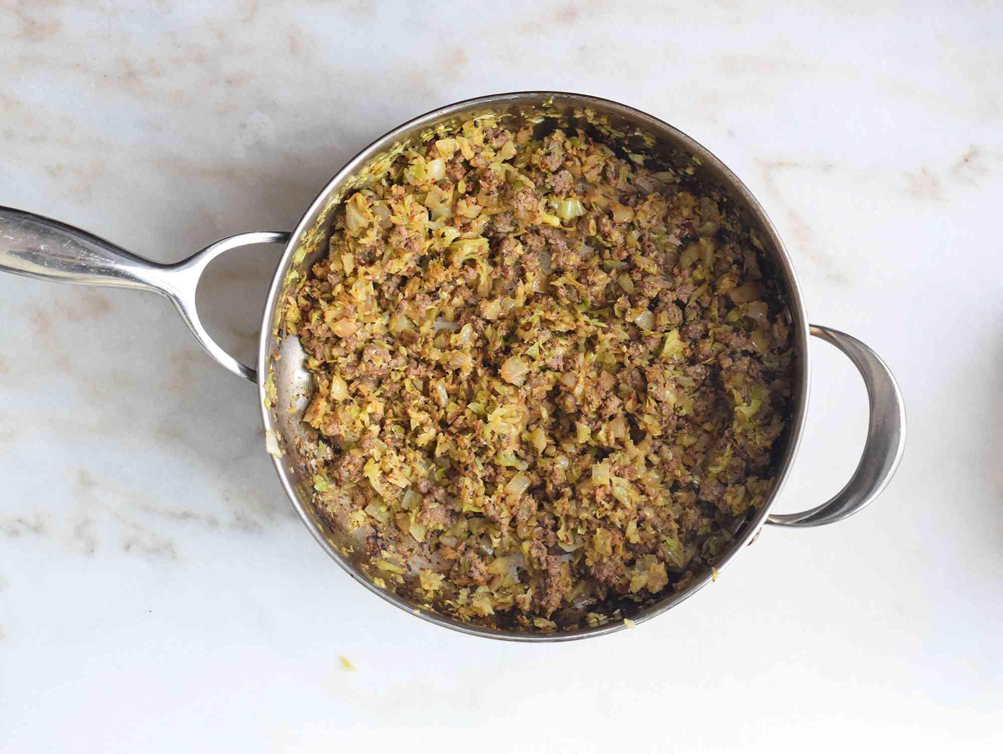bierock filling cooked in a pan